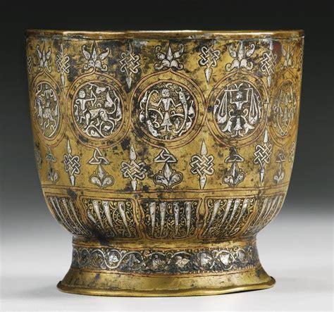 khurasan silver  copper inlaid brass ewer section