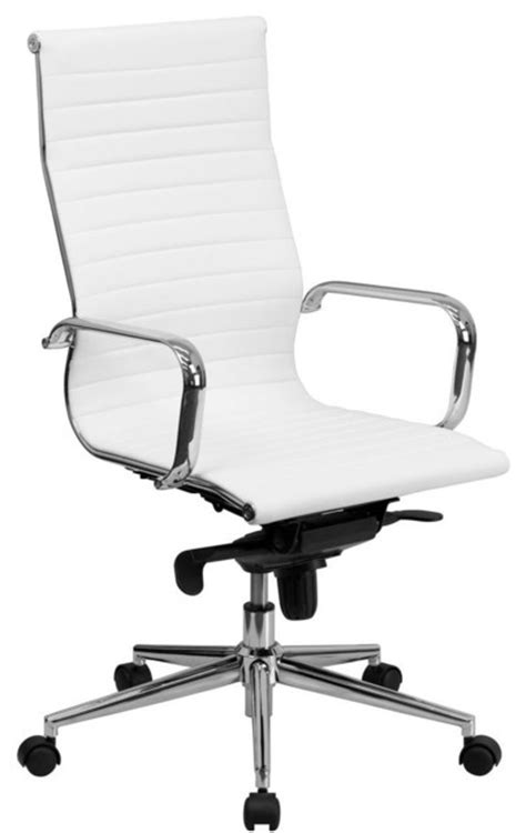 high back white ribbed upholstered leather executive