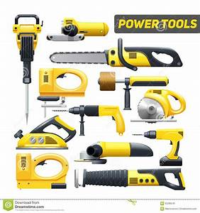 Power Tools Yellow Black Pictograms Collection Stock
