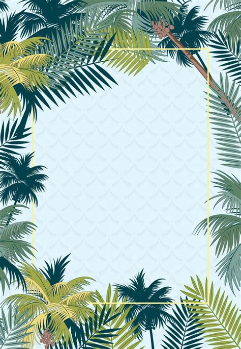 simple tropical rainforest plant summer promotion poster