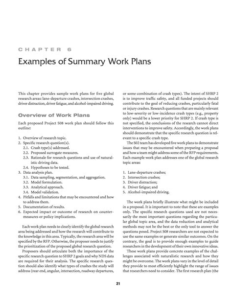 chapter 6 exles of summary work plans integration