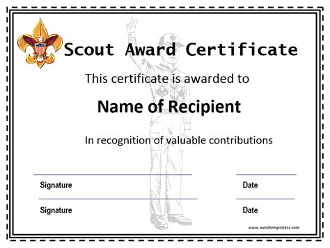 Scout Certificate Templates certificate templates archives word templates word