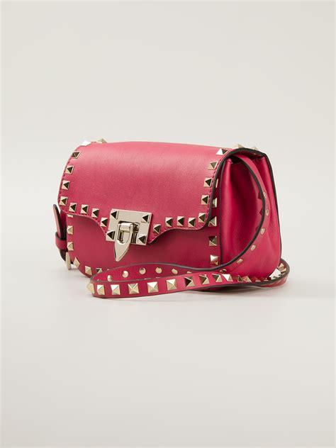 valentino mini rockstud cross body bag  pink purple pink lyst