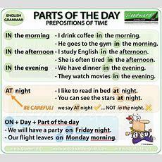 Prepositions Of Time At On In English Grammar Notes  Preposiciones De Tiempo En Inglés