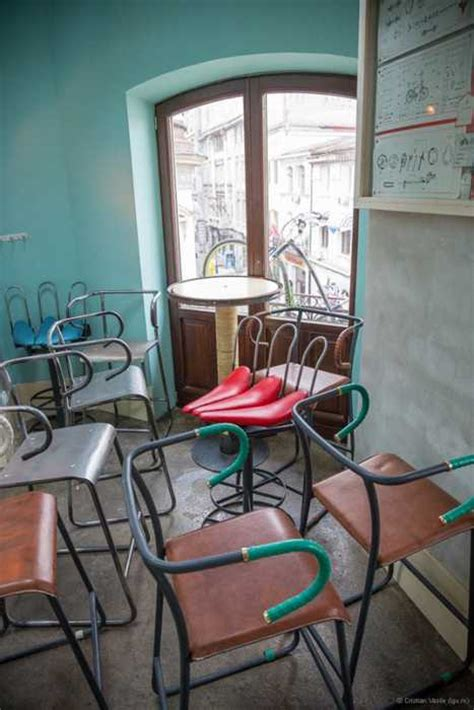 interesting bar interior design recycling  bikes