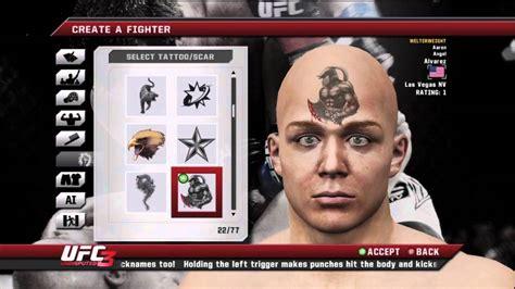 ufc undisputed   depth tattoo  create  fighter