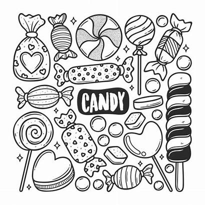 Candy Doodle Coloring Colorear Icons Drawn Doodles