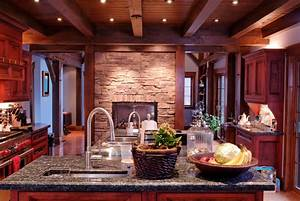 furniture dark wood ceiling beams with stone wall and With kitchen colors with white cabinets with red cherry blossom wall art