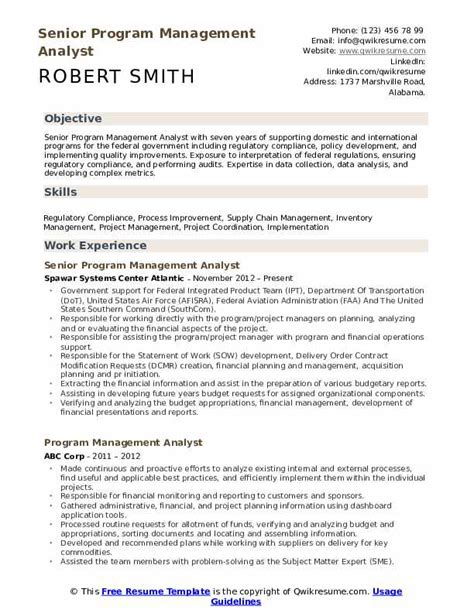 Resume Programs by Program Management Analyst Resume Sles Qwikresume