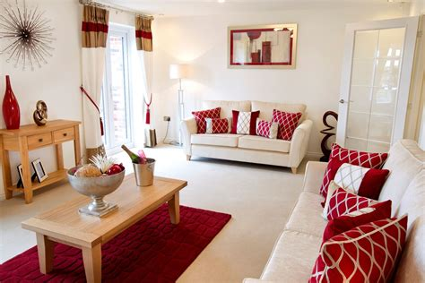 red hues complement  welcoming cream interior