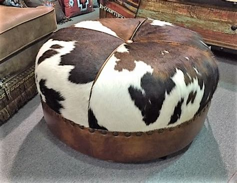 Cowhide Pictures by Cowhide Ottoman Santa Fe Company Okc