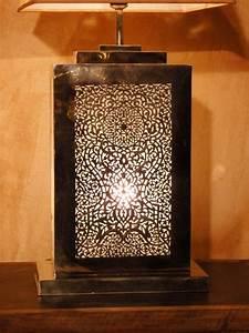 Lampe De Chevet Cuivre : artisanat maroc lampe bureau lampe poser rectangulaire en cuivre jaune ~ Teatrodelosmanantiales.com Idées de Décoration
