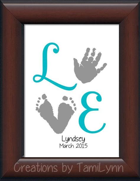 baby girl love footprint handprint