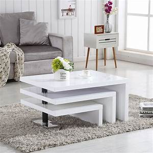 Design, Coffee, Table, Rotating, In, White, High, Gloss, With, 3, Tops