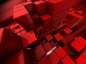Abstract 3d illustration of red cubes background
