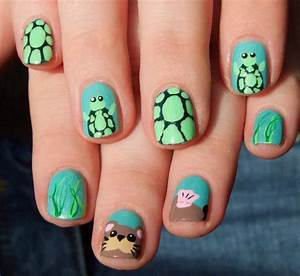 Sea otter and turtle nail art by Lyralein on DeviantArt