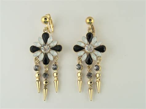 blooming chandelier clip on earrings