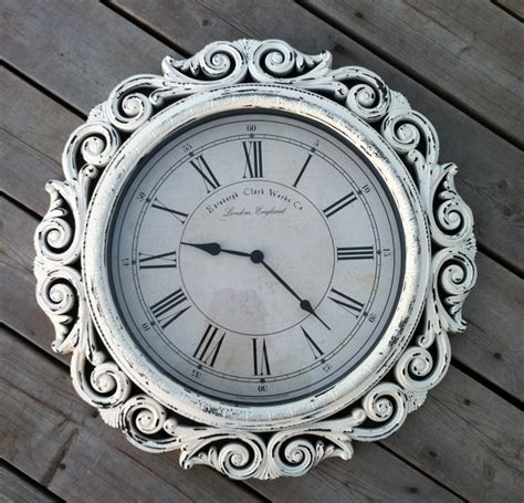 large shabby chic wall clock shabby chic extra large wall clock with intricate frame design decofurnish