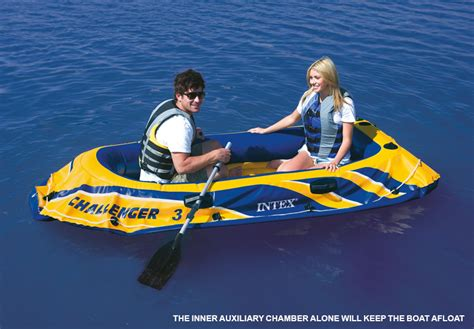 Inflatable Pool Boat With Oars by Intex Challenger 3 Inflatable Boat Set With Pump Oars