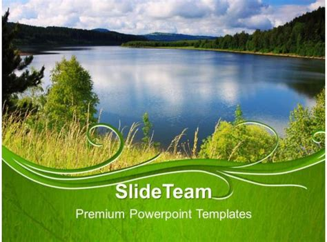 nature reserves powerpoint templates blue lake image