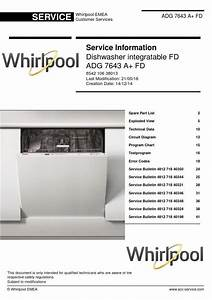 Whirlpool Adg 7643 A  Fd Dishwasher Service Information