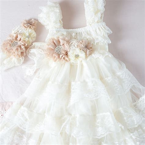 shabby chic flower dress ivory flower girl dress shabby chic flower girl wheat cream flower girl country wedding lvory
