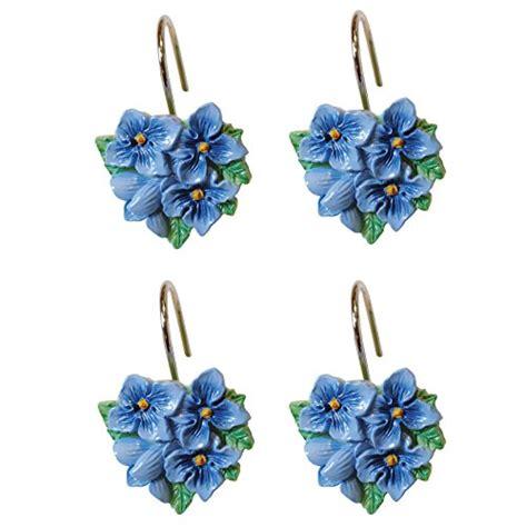 lenox shower curtain hooks blue floral garden ebay