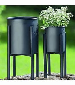 Cache Pot Sur Pied : set de 2 cache pots sur pied en m tal noir ~ Premium-room.com Idées de Décoration