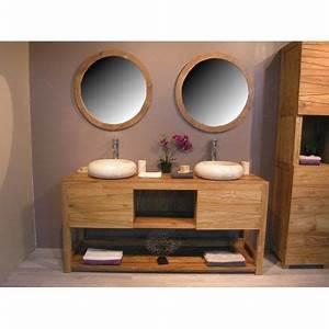 meuble double vasque de salle de bain en teck c achat With meuble salle de bain double vasque teck