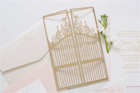 gate wedding invitation laser cut  blush  gold dodeline