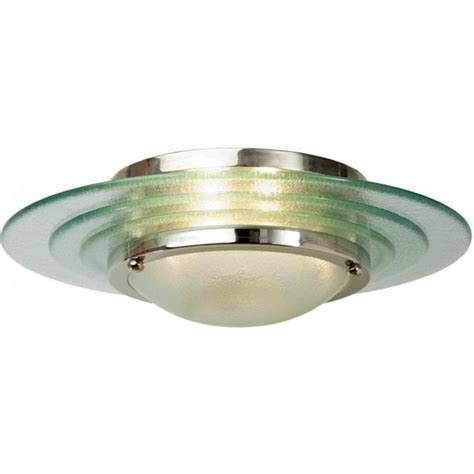 flush fitting art deco low ceiling light circular glass