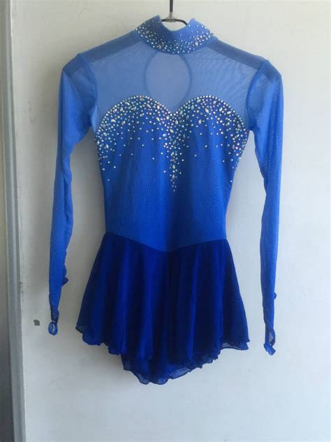 Blue Ice Skating Dress Girls Custom Figure Skating Dresses