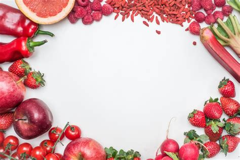 photo flat lay  fresh red toned vegetables  fruits