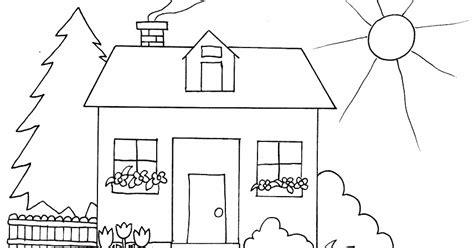 gambar mewarnai rumah untuk anak paud dan tk