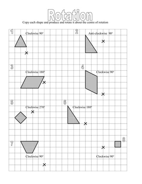 rotation worksheet rotate a given shape around a centre of rotation by tythy teaching resources