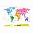 World Map with Big Text for Kids Art Canvas Print