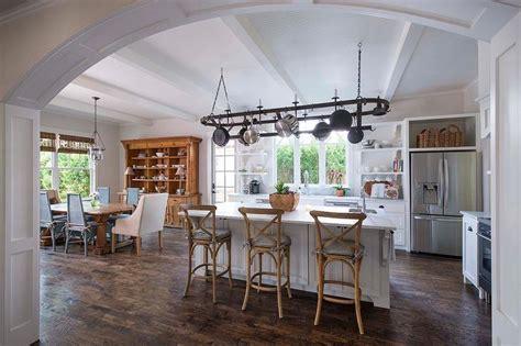 oval pot rack  center island transitional kitchen