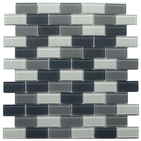 backsplash kitchen lowes buy grey blend 1x2 brick glass mosaic wallandtile 1430