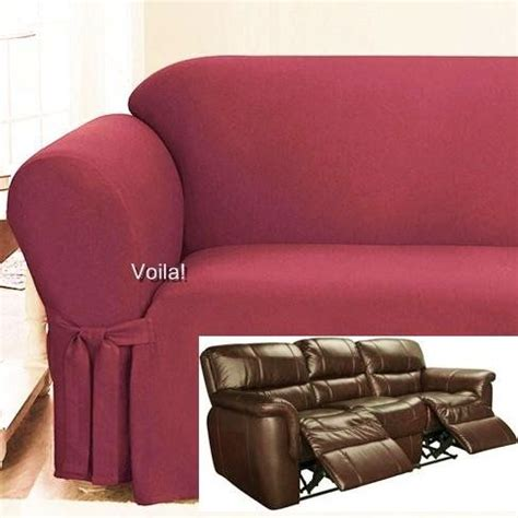 Dual Reclining Sofa Covers by Reclining Sofa Slipcover Spice Ribbed Texture Adapted
