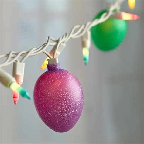 speckled easter egg and pastel bulb cord string lights