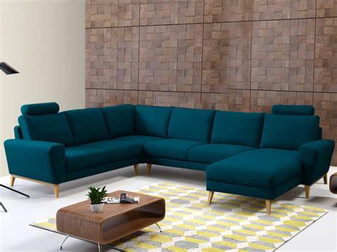 canapé d 39 angle panoramique en tissu bleu ou gris visby
