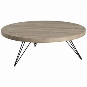 Table Basse Metal Ronde : table basse ronde r tro bois et pieds m tal noir en pingle 4 tiges 90x90x33cm landaise ~ Teatrodelosmanantiales.com Idées de Décoration