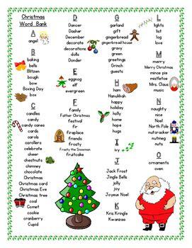 christmas student printable word bank  clares classroom