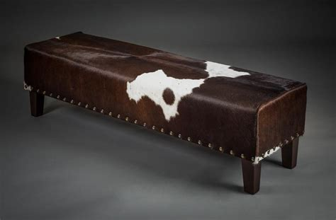 Cowhide Bench Ottoman by Bench Cowhide Furniture Metal Studs Queenstown New Zealand