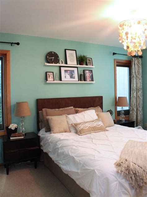 master bedroom a light green teal wall home style