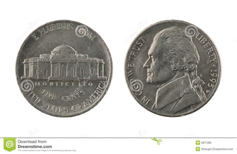 nickel coin isolated  white stock image image