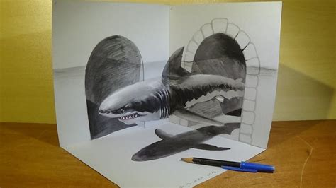 great white shark trick art   drawing  amazing