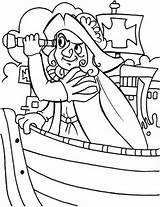 Coloring Columbus Spyglass Sun Coloringsun Ship Pirate sketch template
