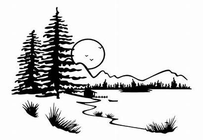 Mountain Lake Landscape Coloring Scenery Silhouette Pages