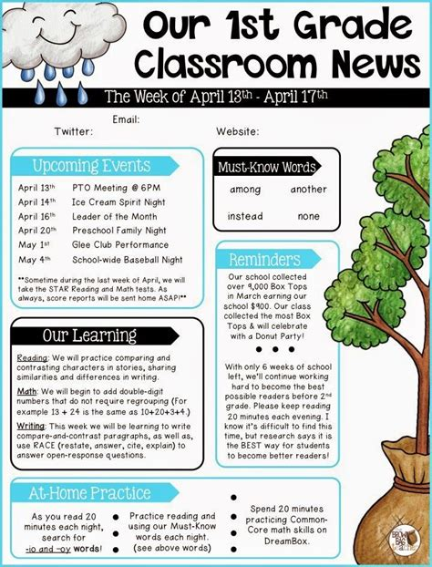parent communication st grade school newsletter